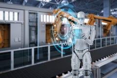 Robot met glastablet stock fotografie