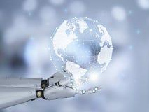 Robot met globale verbinding stock fotografie