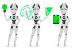 Robot met kunstmatige intelligentie, vrouwelijke bot royalty-vrije illustratie