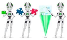 Robot met kunstmatige intelligentie, vrouwelijke bot vector illustratie
