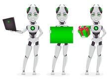 Robot met kunstmatige intelligentie, vrouwelijke bot stock illustratie
