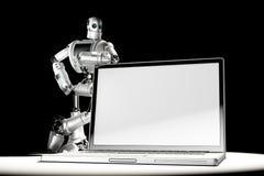 Robot met lege het schermlaptop Beeld containc lipping weg van laptop het scherm en volledige scène Royalty-vrije Stock Foto