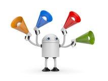 Robot met megafoons royalty-vrije illustratie