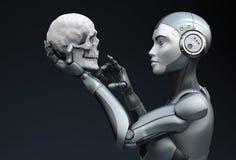 Robot met menselijke schedel in zijn hand royalty-vrije illustratie