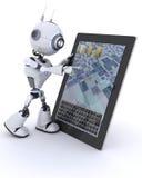 Robot met mobiel tabletapparaat Stock Fotografie