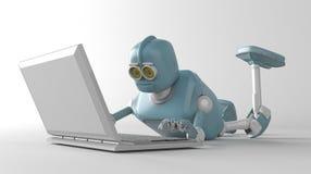 Robot met netbook royalty-vrije stock foto's