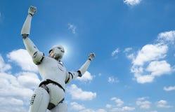 Robot met omhoog handen royalty-vrije illustratie