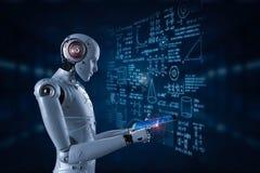 Robot met onderwijs hud stock illustratie