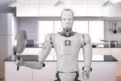 Robot met pan royalty-vrije illustratie