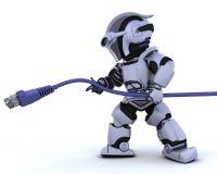 Robot met RJ45 netwerkkabel Royalty-vrije Stock Foto's