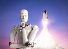 Robot met ruimteveer stock illustratie