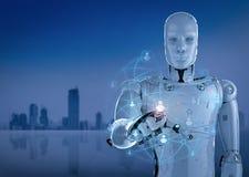 Robot met sociaal netwerk Stock Afbeeldingen
