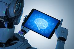 Robot met tablet Stock Foto