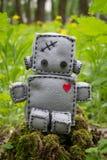 Robot miękkiej części zabawka przy zielenią Zdjęcie Stock