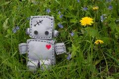 Robot miękkiej części zabawka przy zielenią Zdjęcia Royalty Free