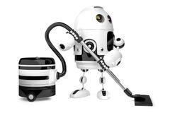 Robot mignon avec l'aspirateur D'isolement illustration 3D illustration libre de droits