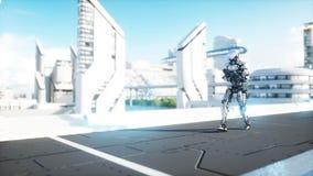 Robot militaire avec la marche d'arme à feu Ville futuriste, ville rendu 3d illustration libre de droits