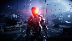 Robot militaire dans la ville détruite Futur concept d'apocalypse rendu 3d illustration stock