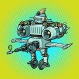 Robot militar de la batalla divertida ridícula en estilo retro stock de ilustración