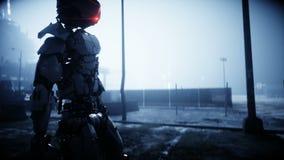 Robot militar en ciudad destruida Concepto futuro de la apocalipsis Animación realista 4K