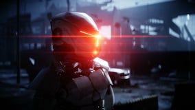Robot militar en ciudad destruida Concepto futuro de la apocalipsis Animación realista 4K ilustración del vector