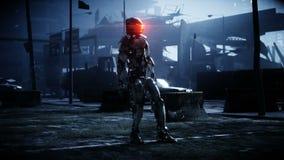 Robot militare in città distrutta Concetto futuro di apocalisse Animazione realistica 4K royalty illustrazione gratis