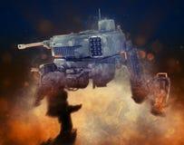 Robot militare illustrazione 3d su un fondo scuro fantastico illustrazione vettoriale