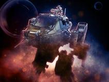 Robot militare illustrazione 3d su un fondo scuro fantastico royalty illustrazione gratis