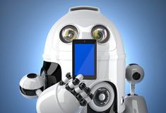 Robot with mobile phone. Contains clipping path Stock Images