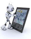 Robot with mobile tablet device Stock Photography