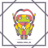 Robot Model Number HMA 03. Cartoon toy robot. With a frame and on a white background. Can be used as a game or cartoon character Stock Image