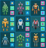 Robot Models Group Isolated on Dark Backgrounds. Smiling droids isolated on colorful squares, robot icons set, graphics and sonar, bulbs and antennas royalty free illustration