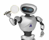 Robot Modern looking through a magnifying glass. innovative cyborg. 3d Render stock illustration
