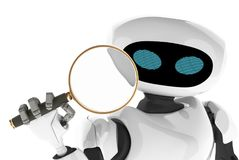 Robot Modern looking through a magnifying glass. innovative cyborg. 3d Render royalty free illustration