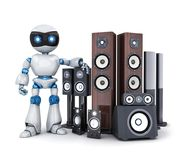 Robot and modern sound speaker. 3d illustration Royalty Free Stock Photography