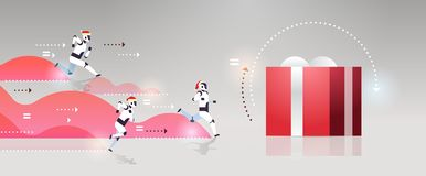 Robot moderni che eseguono la concorrenza attuale di tecnologia di intelligenza artificiale di festa di Buon Natale del nuovo ann royalty illustrazione gratis