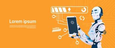 Robot moderno facendo uso dello Smart Phone delle cellule, tecnologia futuristica del meccanismo di intelligenza artificiale illustrazione vettoriale