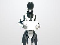 Robot moderno que detiene al cyborg en blanco tablero/3d con la hoja vacía Imagen de archivo libre de regalías