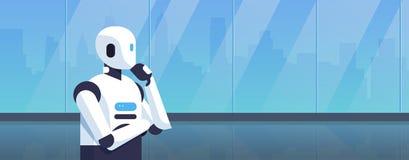 Robot moderno que piensa la barbilla humanoid de la mano que se sostiene que reflexiona la historieta del concepto de la tecnolog libre illustration