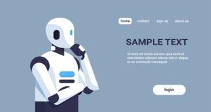 Robot moderno que piensa la barbilla humanoid de la mano que se sostiene que reflexiona la historieta del concepto de la tecnolog ilustración del vector