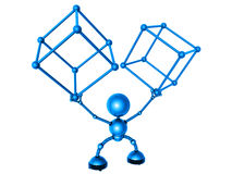 Robot and molecules Stock Image