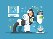 Robot monkey scientist. Make laboratory experiment. Vector flat illustration stock illustration