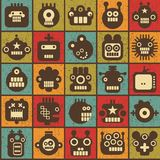 Robot and monsters cell seamless background. Royalty Free Stock Photo