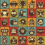 Robot and monsters cell seamless background. Stock Photos