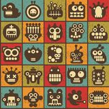 Robot and monsters cell seamless background. Royalty Free Stock Image