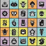 Robot and monsters cell seamless pattern. Royalty Free Stock Photos