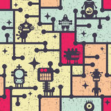 Robot and monsters colorful seamless pattern. Vector illustration Stock Photography