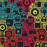 Robot and monsters cool seamless pattern. Stock Image