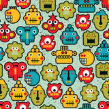 Robot and monsters. Robot and monsters cute faces seamless pattern. Vector texture stock illustration