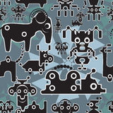 Robot and monsters cute seamless pattern. stock illustration